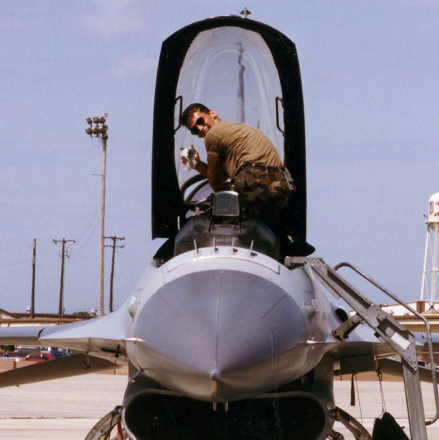 Rich Prepping F16 for Flight Circa 1992