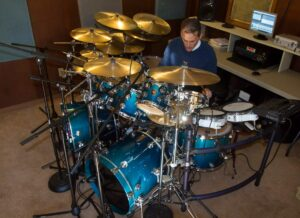 Richard Geer In His Home Drum Set Recording Studio