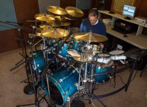 Richard Geer In His Home Drum Set Recording Studio